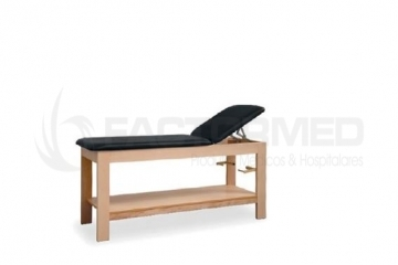 WOODEN EXAMINATION COUCH WITH SHELV